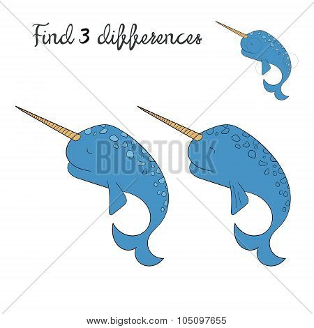 Find differences kids layout for game narwhal