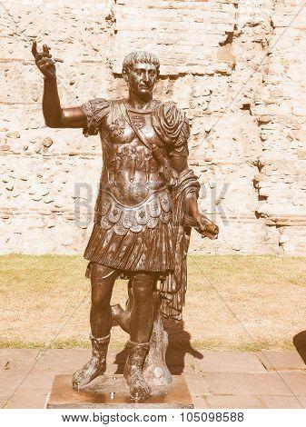 Retro Looking Trajan Statue In London