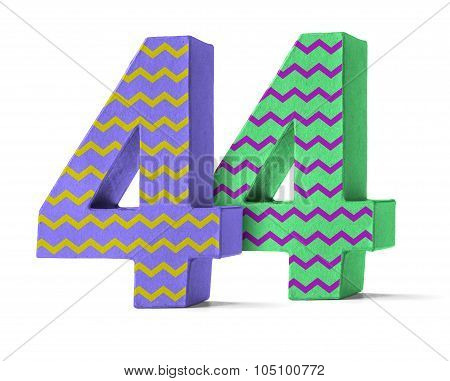 Colorful Paper Mache Number On A White Background  - Number 44