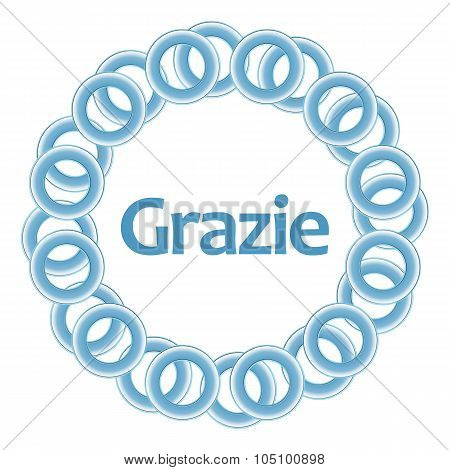 Grazie Text Inside Blue Rings Circular