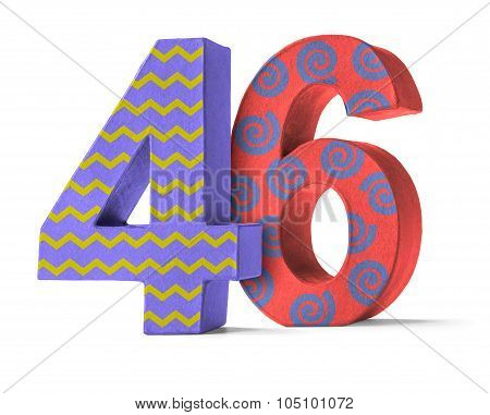 Colorful Paper Mache Number On A White Background  - Number 46