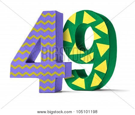 Colorful Paper Mache Number On A White Background  - Number 49