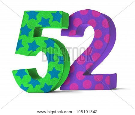 Colorful Paper Mache Number On A White Background  - Number 52
