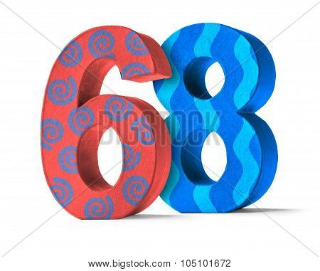 Colorful Paper Mache Number On A White Background  - Number 68