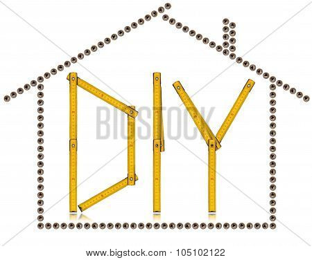 House And Diy Symbol - Screws And Ruler