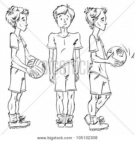 Set Of Vector Full-length Hand-drawn Caucasian Teens With A Soccer Ball, Black And White