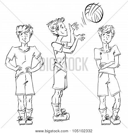 Set Of Vector Full-length Hand-drawn Caucasian Teens, Black And White Front And Side View Sketch