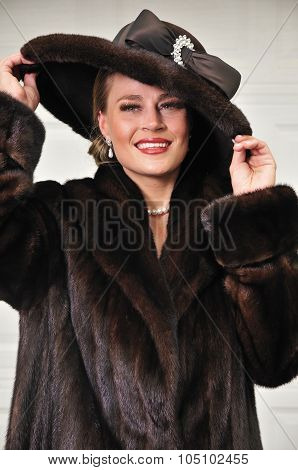 High Class Woman Dressed In Luxurious Fur Coat