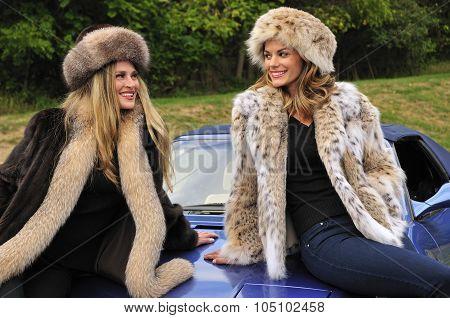 Pretty Women Wearing Winter Fur Coats