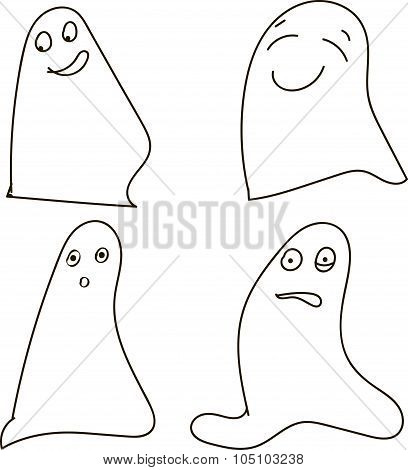 Ghosts, black-and-white, drawing, emotions: joy, happiness, surprise, shock, Halloween, Halloween