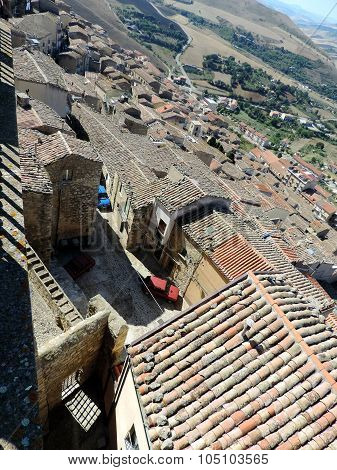Top View On A Old Tile Roofs Of Medieval Town