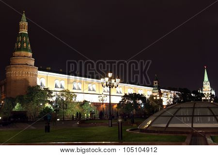 Night View Of Arsenal An D Arsenal Tower Of Moscow Kremlin From Manezhnaya (or Manege) Square In Mos