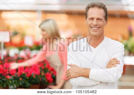 Professional florist selling flowers