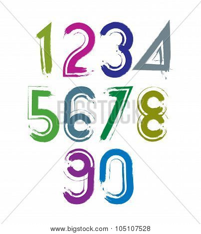 Calligraphic Brush Numbers With White Outline, Hand-painted Bright Vector Numeration.