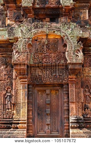 Beautiful blind stone door at Banteay Srei