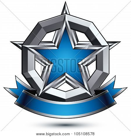 Renown Vector Silver Star With Wavy Ribbon Placed In A Circle, 3D Sophisticated Pentagonal Design El