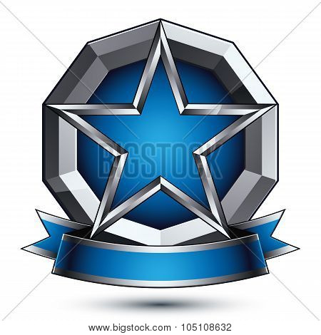 Renown Vector Silver Star With Wavy Ribbon Placed On A Round Surface, 3D Sophisticated Pentagonal De