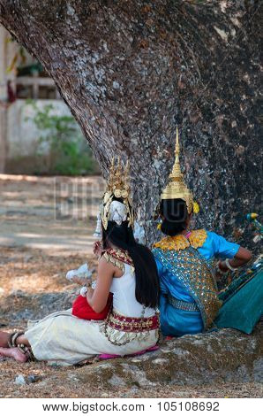Two apsara dancer girls