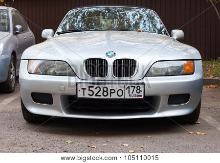 Silver Gray Bmw Z3 Car Stands On The Roadside