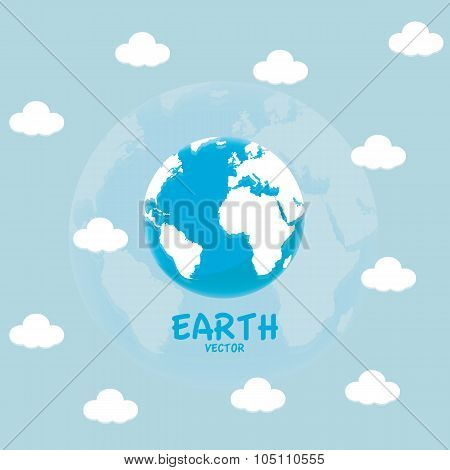 Globe icon with white map of the continents of the world and cloud.