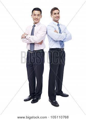 Studio Portrait Of Asian And Caucasian Businessmen