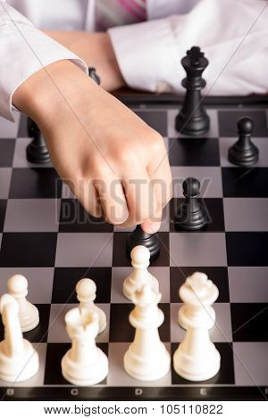 chess and hand closeup