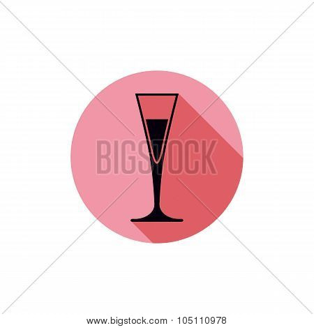 Alcohol Theme Icon, Champagne Goblet Placed In A Circle. Colorful Restaurant Vector Theme Element.