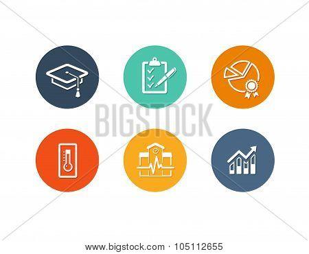 Educational academic icons flat design