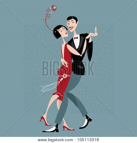 Dancing Couple. Art Deco. Retro.