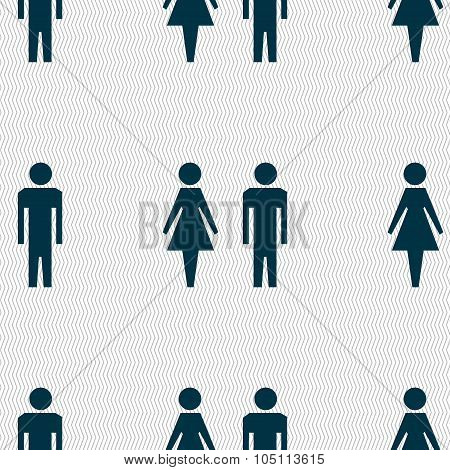 Wc Sign Icon. Toilet Symbol. Male And Female Toilet. Seamless Abstract Background With Geometric Sha