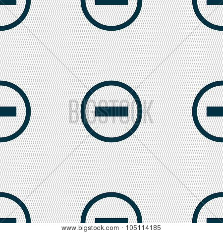Minus Sign Icon. Negative Symbol. Zoom Out. Seamless Abstract Background With Geometric Shapes. Vect