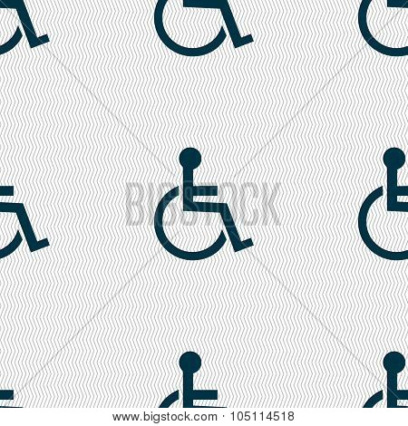 Disabled Sign Icon. Human On Wheelchair Symbol. Handicapped Invalid Sign. Seamless Abstract Backgrou