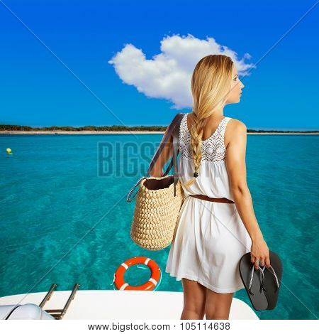 Blond tourist in a beach wih basket and flip flops at Formentera photomount