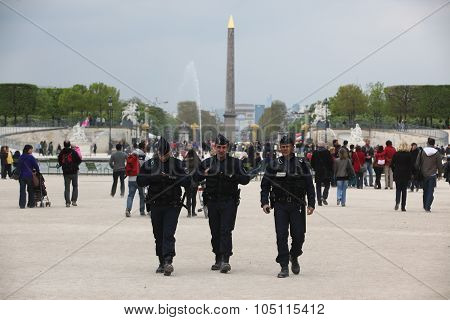 Paris, France - April 24: Luxor Obelisk And Triumphal Arch From