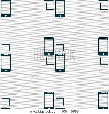 Synchronization Sign Icon. Communicators Sync Symbol. Data Exchange. Seamless Abstract Background Wi