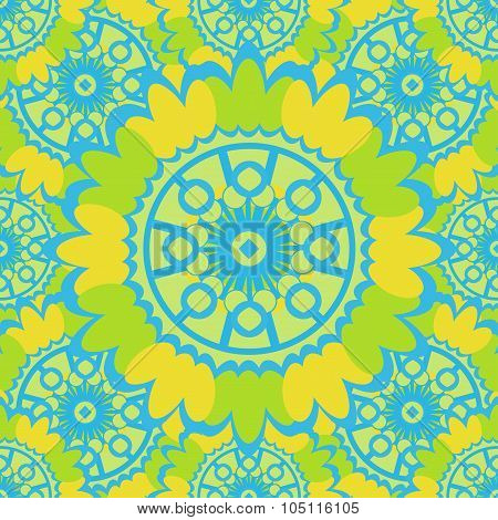 Bright Abstract Seamless Pattern With Round Ornamental Elements. Vector Green Background.