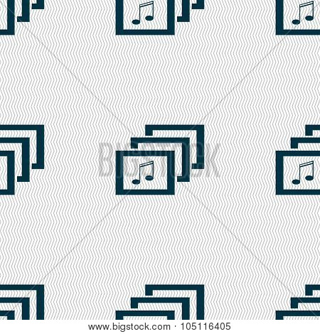 Mp3 Music Format Sign Icon. Musical Symbol. Seamless Abstract Background With Geometric Shapes. Vect
