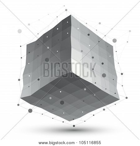 Abstract Deformed Vector Monochrome Object With Lines Mesh Isolated On White Background, Complicated