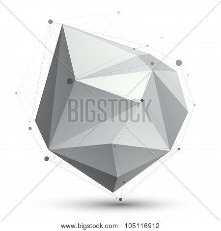 Triangular Abstract Grayscale 3D Shape, Vector Digital Eps8 Lattice Object.
