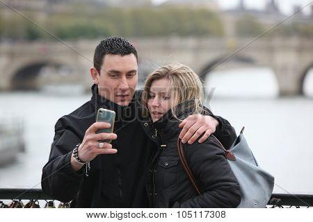 Paris, April 27: Romantic Couple Take A Pic In Paris  On 27 April 2013. Paris Ia A Most Famous And R