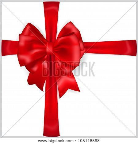Red Bow With Crosswise Ribbons