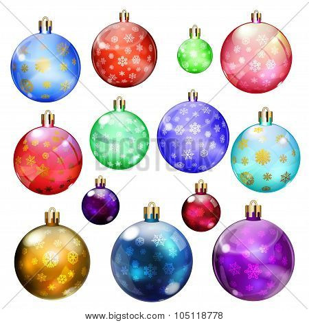 Set Of Opaque Christmas Balls With Snowflakes