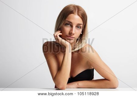 Beauty Blondy Woman Looking At Camera