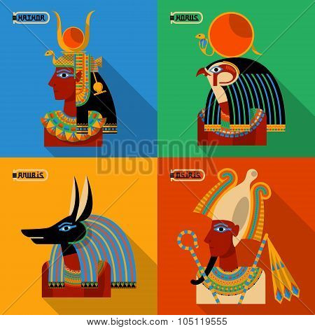 Egyptian Gods. Hathor, Horus, Anubis, Osiris.