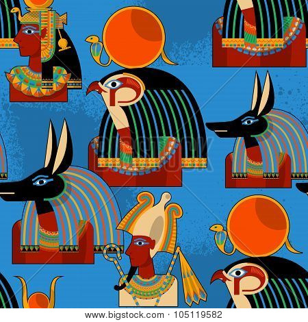 Egyptian Gods.  Hathor, Horus, Anubis, Osiris. Seamless Background Pattern.