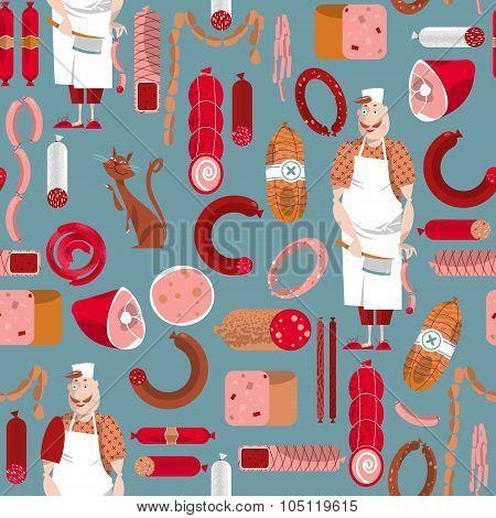 Meat Market. Delicatessen. Butcher. Seamless Background Pattern.