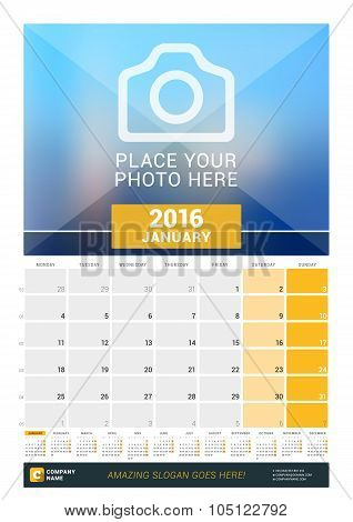 January 2016. Wall Monthly Calendar For 2016 Year. Vector Design Print Template With Place For Photo