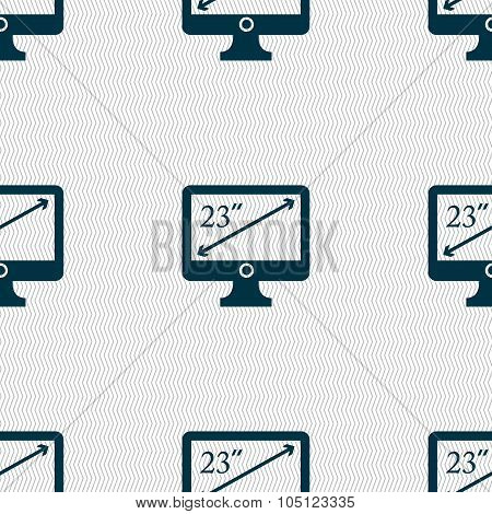 Diagonal Of The Monitor 23 Inches Icon Sign. Seamless Abstract Background With Geometric Shapes. Vec