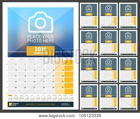 Wall Monthly Calendar For 2016 Year. Vector Design Print Template With Place For Photo And Year Cale