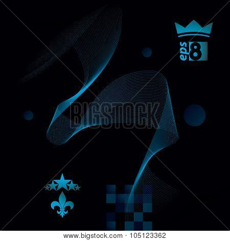 Sophisticated 3D Waved Decoration, Clear Eps 8 Vector Illustration, Dark Motif Background With stars